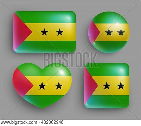 Sao Tome And Principe Country Flag Buttons Set. Middle Africa Country National Flag, Shiny Geometric