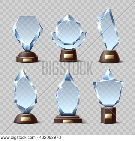 Crystal Winners Awards. Realistic Glass Trophies, Different Shapes, Transparent Acrylic Mockups, Geo