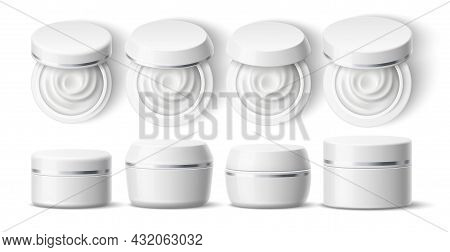 Realistic Round Cream Container. White Cosmetic Plastic Jar, Skin Care Products Mockup, Body, Face S