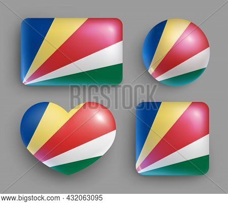 Set Of Glossy Buttons With Seychelles Country Flag. Eastern Africa Island State National Flag, Shiny