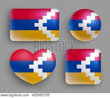 Set Of Glossy Buttons With Armenia Country Flag. Western Asia Country National Flag, Shiny Geometric