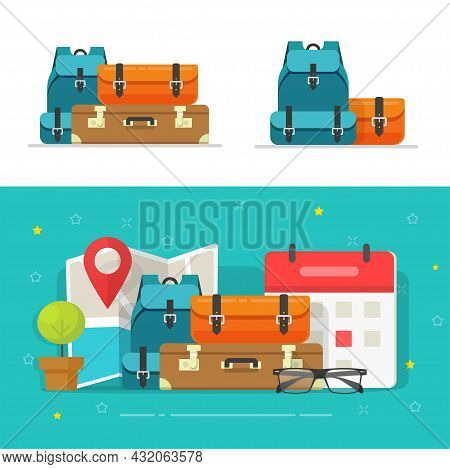 Baggage Bags Heap Or Travel Trip Luggage Pile Stacked Isolated Clipart Vector Flat Cartoon Illustrat