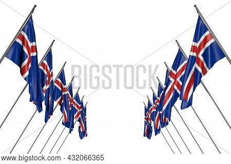 Pretty Many Iceland Flags Hanging On Diagonal Poles From Left And Right Sides Isolated On White - An