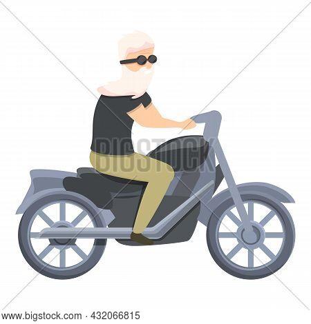 Grandpa Biker Icon Cartoon Vector. Senior Travel. Person Retirement
