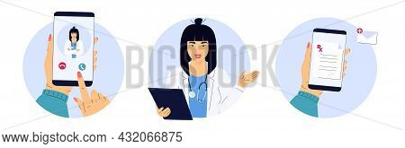 The Patient Makes A Video Call To The Asian Doctor On The Smartphone. Woman Medical Worker With A St