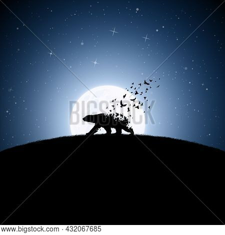 Polar Bear On Moonlight Night. Endangered Animal. Death And Afterlife
