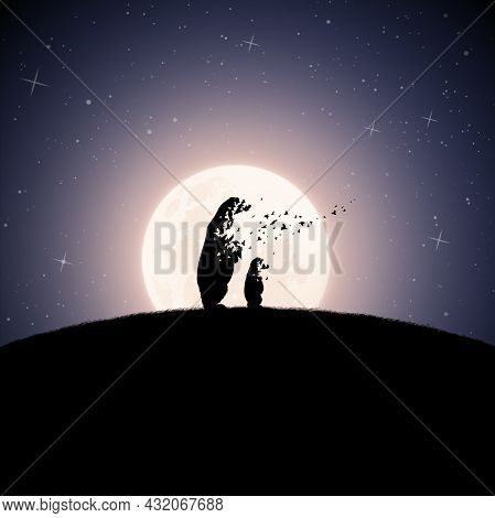 Bear Family On Moonlight Night. Endangered Animal. Death And Afterlife