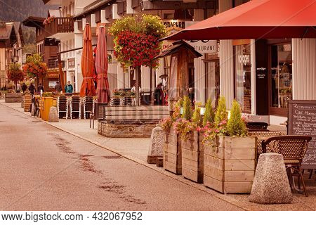 Chamonix Mont-blanc, France - October 4, 2019: Street View In The Center Of Famous Resort In French