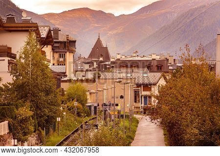 Chamonix Mont-blanc, France - October 4, 2019: Autumn View And Railroad Of Famous Ski Resort In Fren