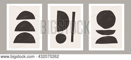 Trendy Contemporary Abstract Wall Art, Set Of 3 Boho Art Prints, Minimal Black Shapes On Beige. Crea