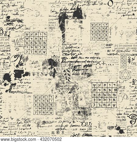 Abstract Seamless Pattern With Fragments Of Typescript And Lorem Ipsum Handwritten Text, Scribbles,