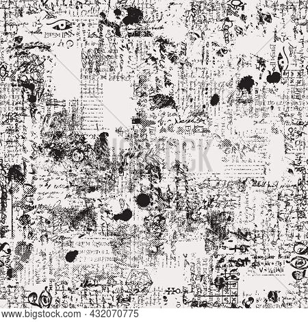 Abstract Seamless Pattern With Fragments Of Illegible Typescript And Handwritten Text, Scribbles And
