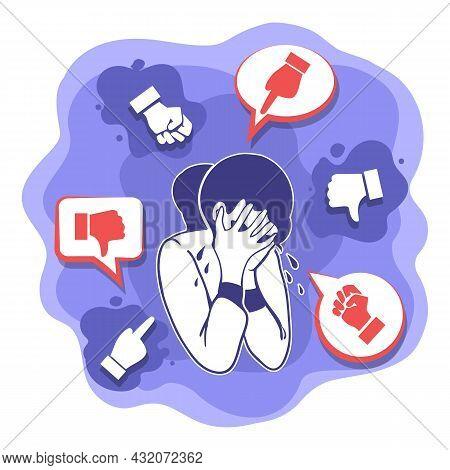 Cyberbullying. Cyber Bullying Man Networking Woman Attack, Girl Teasing Bully Problem Vector Illustr