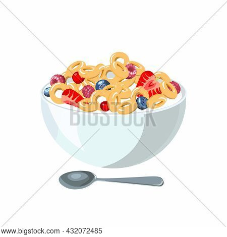 Corn Flakes With Milk For Classic Hotel Breakfast. Brunch Healthy Start Day Options Food. Vector Ill
