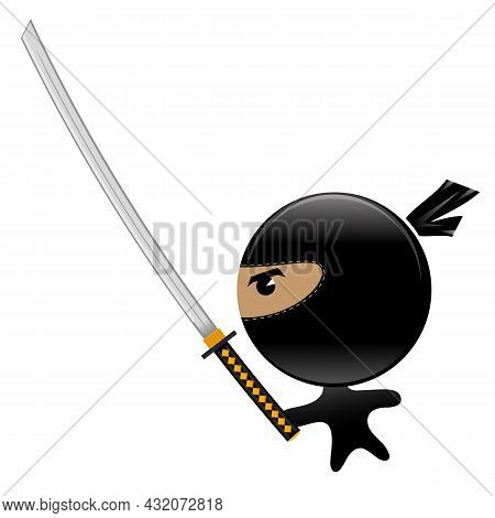 Cartoon Ninja Face Icon With Katana Isolated On White Background. Warrior Logo.