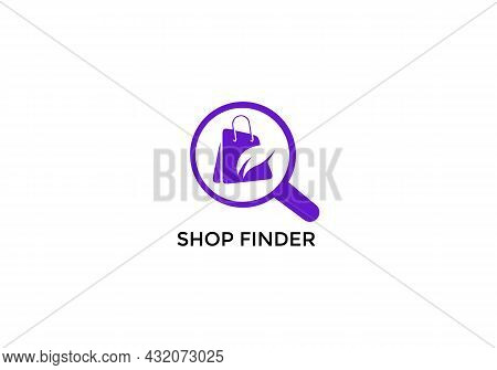 Shop Finder Abstract Shopping Mall Search Emblem Logo Design
