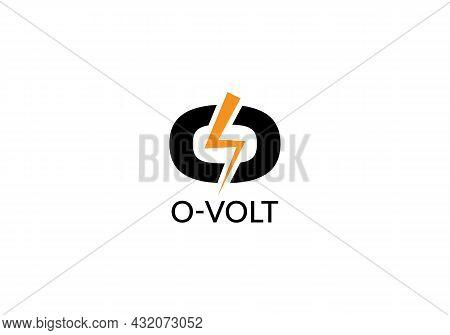 Abstract O Letter Volt Modern Minimalist Unique Logo