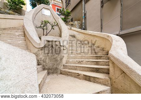 Kamondo Stairs, A Famous Pedestrian Stairway Leading To Galata Tower, Built Around 1870, Located On