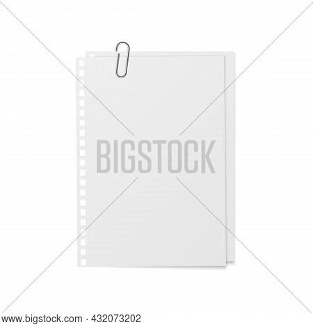 Sheets With Holder And Clip. Realistic Mockup Memo Stickers. White Copybook Blank, Notebook Paper Op