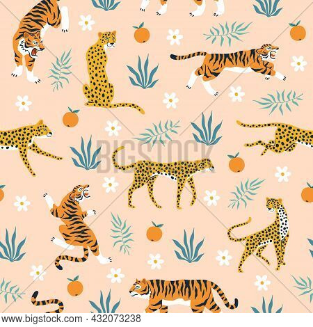 Seamless Pattern Tigers. Trendy Tropical Background With Wild Animals, Jaguars, Leopards, Flowers, M