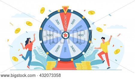 Fortune Wheel People. Casino Gaming Game, Lucky Players Have Bingo And Win Money, Numbers Slots, Spi