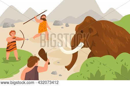 Stone Age Hunting. Ancient Men Chasing Mammoth Animal, Angry Caveman Pursuit Prey, Neolithic Prehist