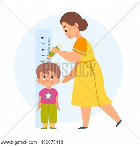 Measuring Height. Mom Helps Her Son Measure Growth, Makes Mark With Pencil, Wall-mounted Kids Meter,