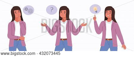 Woman Think. Idea Search Three Stages, Intense Reflection, Female Character Thought Process, Solving