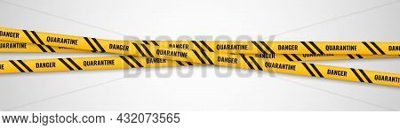 Yellow Ribbons Warning. Quarantine Safety Warning Tapes Frame, Caution Obstruction. Dangerous Crossi