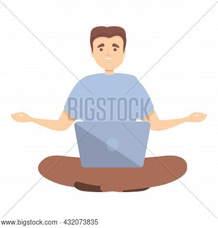 It Specialist Meditate Icon Cartoon Vector. Work Concentration. Zen Mind