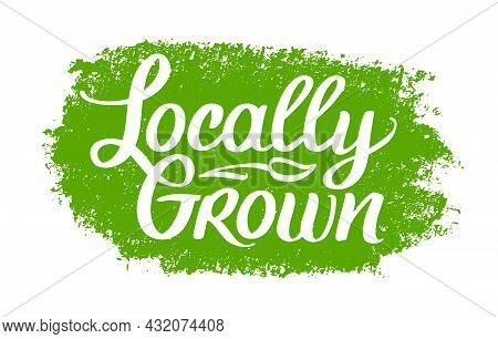 Locally Grown, Vector Logo Template. Hand Drawn Brush Lettering With Plant. Label, Brand Emblem For