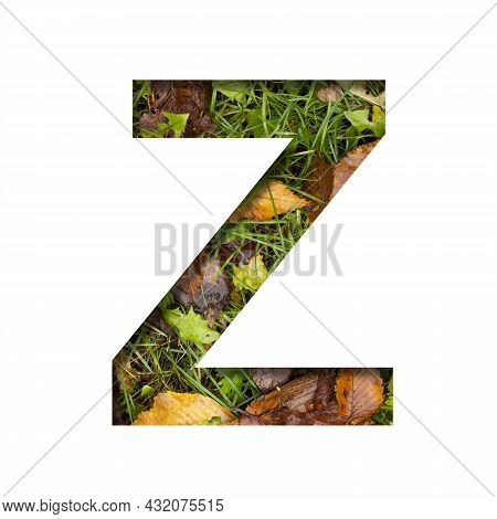 Early Autumn Font.the Letter Z Cut Out Of Paper On A Background Of Green Grass With Yellow Autumn Le