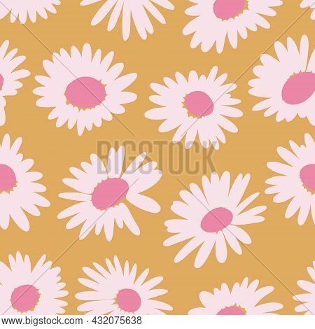 Aesthetic Contemporary Printable Seamless Pattern With Abstract Minimal Elegant Brush Chamomile Shap