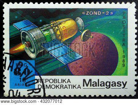 Malagasy Republic - Circa 1989: Postage Stamp 'zond-2' Printed In Malagasy Republic. Series 'interna