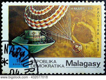 Malagasy Republic - Circa 1989: Postage Stamp 'mars-1' Printed In Malagasy Republic. Series 'interna