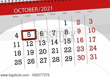 Calendar Planner For The Month October 2021, Deadline Day, 5, Tuesday.