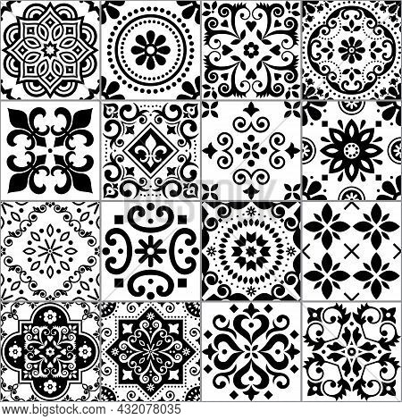 Portuguese And Spanish Azulejo Tiles Seamless Vector Pattern Collection In Black On White, Tradition