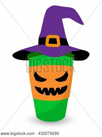 Witch Coffee Cup, Coffee To Go In Witch Hat - Halloween Pumpkin Spice Latte. Good For T-shirt, Mug,