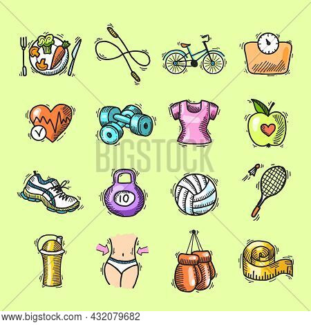 Fitness Bodybuilding Diet Trainer Exercise Colored Sketch Decorative Icons Set Isolated Vector Illus