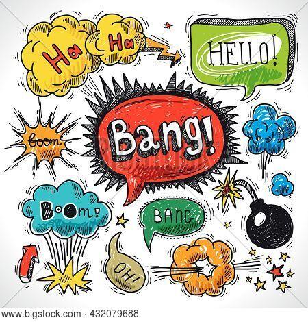 Comic Speech Bubble Sketch Design Element Symbol Boom Splash Bomb Vector Illustration