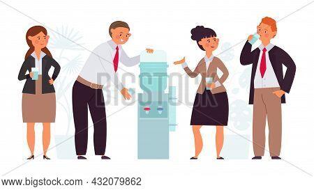Office People Conversation. Water Drink On Work, Flat Corporate Cooler. Talk Break Characters, Manag