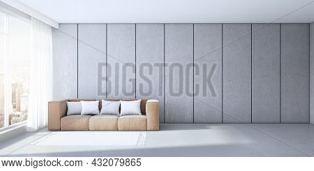 Modern Concrete Office Interior With Couch, Pillows And Window With City View And Daylight. 3d Rende