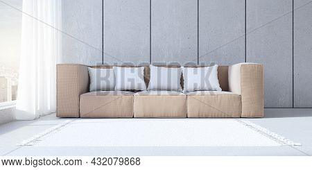 Minimalistic Concrete Office Interior With Couch, Pillows And Window With City View And Daylight. 3d