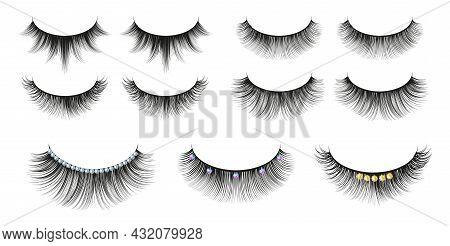 Black Realistic Eyelashes. Diamonds Eyelash, Cosmetics Shine Accessories. Isolated Female Beauty Ele