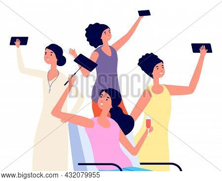 Female Blogger With Smartphone. Girl Doing Photos, Vlogger Media. Social Network Addiction, Woman Ch