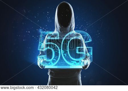 Hacker In Hoodie Holding Tablet With Creative Glowing Polygonal 5g Hologram On Blue Background. Inte