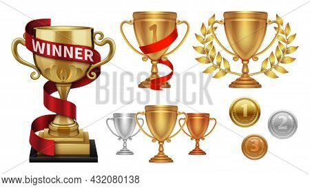 Winner Collection. Trophy, Realistic Medals. Golden Cup With Red Ribbon, Isolated Gold Silver Bronze