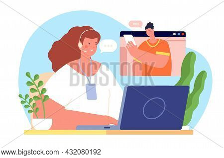 Online Assistant. Person Service, All Day Helping Customer. Client Support, Virtual Help Call. Busin