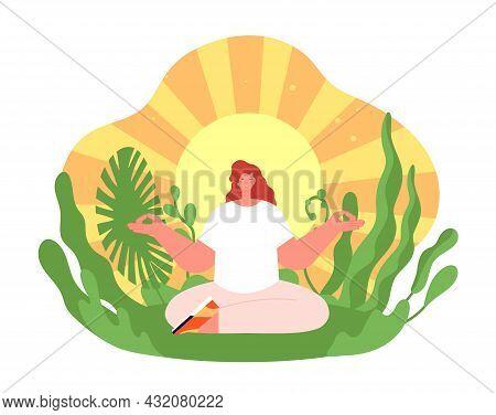 Wellness Therapy. Harmonious Yoga Girl, Health Balance Or Meditation On Sun Background. Treatment On