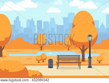 Autumn City Park. Beautiful Fall Town Road With Wooden Bench. Outdoor Season Landscape, Blue Cloudy